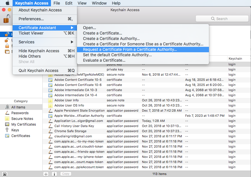Keychain access - create certificate