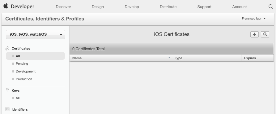 Apple developer certificates
