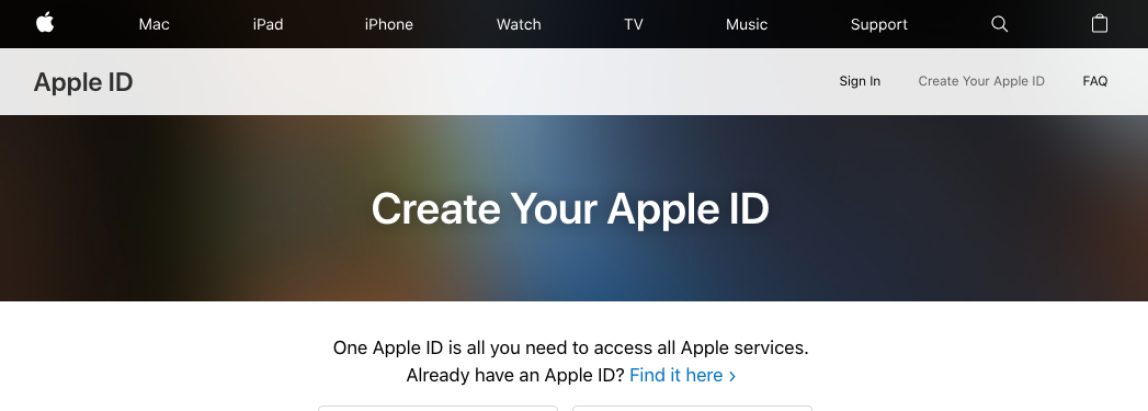 Apple ID creation