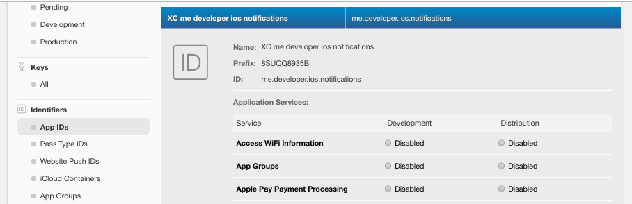 Registered App ID in Apple Developer Account